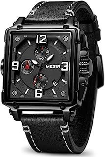 ساعة رجالية من MEGIR انالوج عسكري كرونوغراف كوارتز مضيء مع حزام جلدي أنيق لممارسة الرياضة والعمل ML2061G