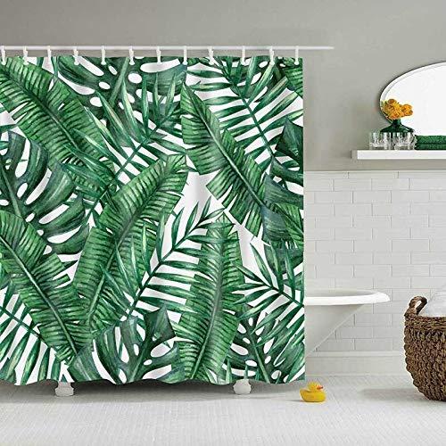 SMNHSRXH douchegordijn, tropische planten, groen