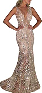 FOBEXISS - Vestito da donna sexy con scollo a V, con paillettes, elegante e grazioso abito da sera per feste