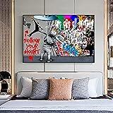 MYBHGRFDG Resumen Love Boy Cortina Revelada Arte de la Calle Pintura Graffiti Original Banksy Arte de la Pared Pintura Lienzo Decoración Moderna | 60x80cm Sin Marco