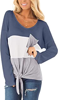 SAMPEEL Womens Waffle Knit Tops V-Neck Casual T Shirt Tie...