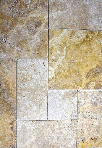 Tegel Travertin natuursteen, geel, Romeinse verband, goud, antiek, travertine voor vloer, wand, badkamer, toilet, keuken, tegelspiegel, tegelverkleding, badkuip, mozaïekmat mozaïekplaat