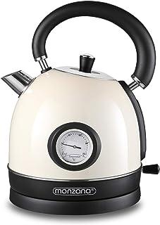 Bouilloire électrique 1,8L Sans BPA crème en acier inoxydable 2200 W Design retro original cuisine