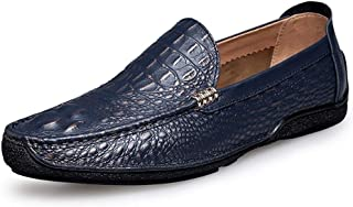 Fashion Penny Loafers for Men Genuine Leather Wedding Banquet Business Casual Shoes Slip-on Flat Anti-Slip Round Toe Breathable Shoes Men's Boots (Color : Blue, Size : 5 UK)