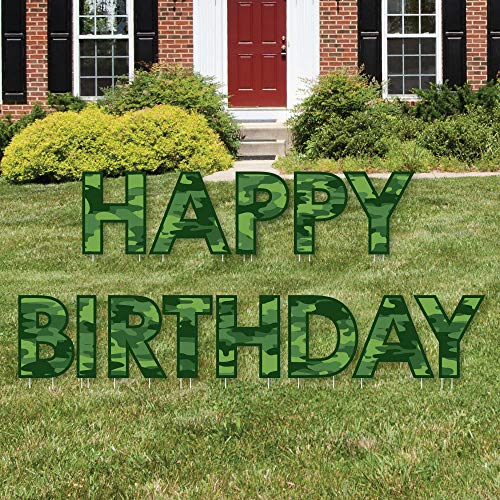Big Dot of Happiness Camo Hero - Yard Sign Outdoor Lawn Decorations - Army Military Camouflage Happy Birthday Yard Signs - Happy Birthday