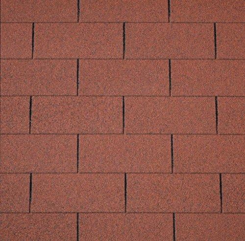 Dachschindeln RECHTECK 3 m² mit Glasvlieseinlage Bitumenschindeln Schindeln Dacheindeckung Gartenhaus Rechteckschindeln (Rot)