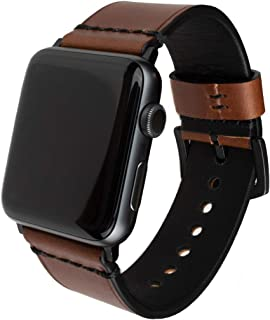 Grit & Grazia Premium Leather Apple Watch Band for 42mm 44mm, Stylish Replacement Vintage Apple Watch Leather Bands for Men iWatch Series 4, Series 3 2 1 with Stainless Steel Buckle (Chestnut Brown)