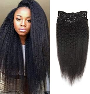 Full Shine 20 Inch Curly Clip In Hair 7 Pcs 100 Gram Natural Black Clip In Hair Extensions Kinky Straight Human Hair Clip In Extensions Brazilian Remy Hair Clip Ins For Black Women