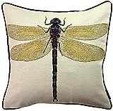 McAlister Textiles Bugs Life | Kissenbezug für Sofa, Couch mit gesticktem Libellen-Motiv | 40 x 40cm | gewebtes Tiermotiv | Deko Kissenhülle Motivkissen