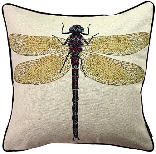 McAlister Textiles Bugs Life   Kissenbezug für Sofakissen mit gesticktem Libellen-Motiv   40 x 40cm   gewebtes Tiermotiv   Deko Kissenhülle für Zierkissen, Sofa, Bett, Couch Motivkissen