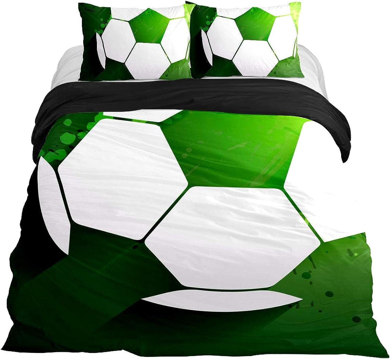 Dragon Sword 3PCS Bed High quality new Sheet OFFicial site Set Green Sport Football Soccer Prin