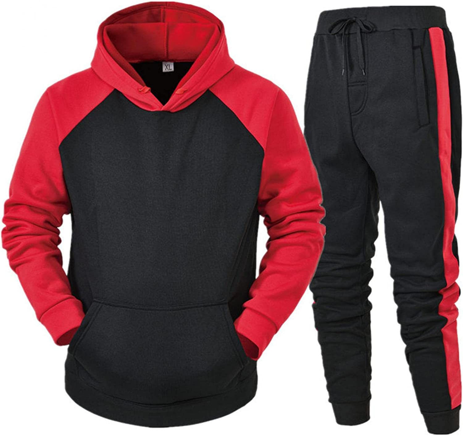LEIYAN Mens 2 Piece Suit Sets Casual Long Sleeve Relaxed Fit Hoodie Pullover Elastic Waist Wide Leg Joggers Suit Set