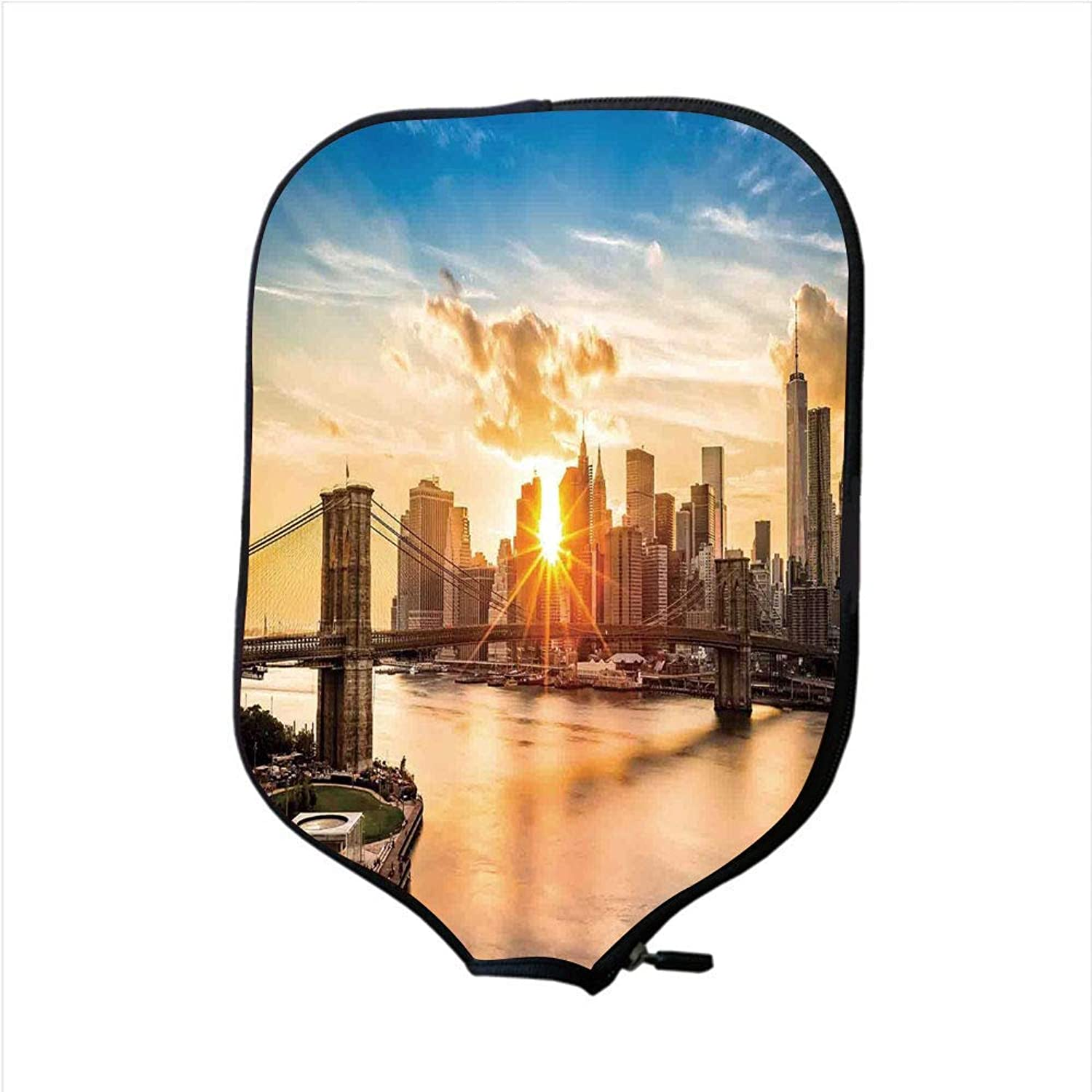 Fine Neoprene Pickleball Paddle Racket Cover Case,NYC Decor,Cityscape of Brooklyn Bridge and Lower Manhattan Hudson River Center of Fashion Art and Culture,Multi,Fit for Most Rackets