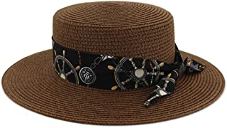 Spring and Summer Girls Straw Hat, Pink Seaside Sunscreen Beach Hat, Outdoor Travel Female Life Cap,Brown