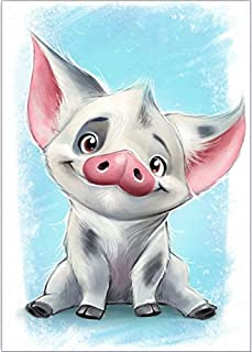 Keriqi 5D DIY Diamond Painting by Number Kits, Crystal Rhinestone Embroidery Pictures Arts Craft for Home Wall Decor - Cute Pig 11.8 x 15.7 Inch