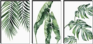 SAF Set of 3 Preety green leaf modern art MDF Self Adhessive UV Textured Painting 36 Inch X 18 Inch( Each Painting Size 12...