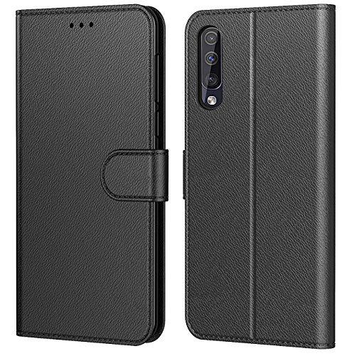"""Tenphone Etui Coque pour Samsung Galaxy A50, Protection Housse en Cuir PU Portefeuille Livre,[Emplacements Cartes],[Fonction Support],[Languette Magnétique] pour (Samsung A50 (6,4""""), Noir)"""