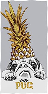 Naanle Funny Pug Dog in Gold Pineapple Crown Print Soft Bath Towel Highly Absorbent Large Hand Towels Multipurpose for Bathroom, Hotel, Gym and Spa (16
