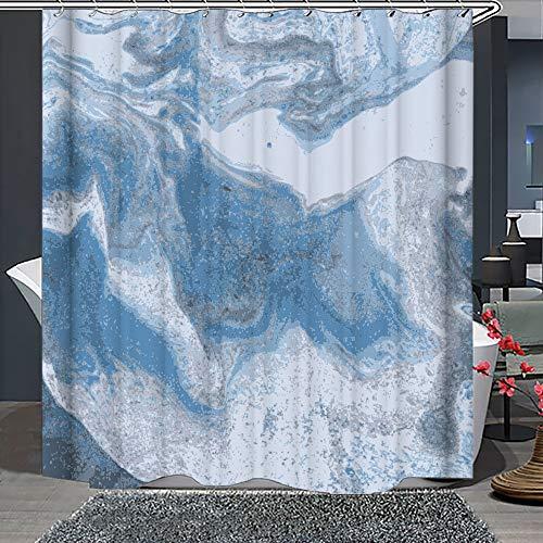 Whim-Wham Zarter blauer Marmor Duschvorhang Blau Eis Weiß Schnee Modern künstlerisch Kreativ Blau Grau Marmor Badezimmer Dekor Set mit 12 Haken