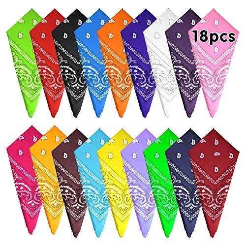 FEPITO 18 piezas Paisley Bandanas Pañuelos de vaquero surtidos Unisex Novedad Impresión Head Wrap Bufanda Pulsera para mujeres y hombres