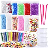 Fepito 35 Pack Craft Slime Making Kits Fruit Slime Crunchy Slime Foam Slime Accesorios Incluyendo Slime Box Fishbowl Beads Glitter Fruit Slices Cuentas de espuma para Slime DIY(No contiene limo)