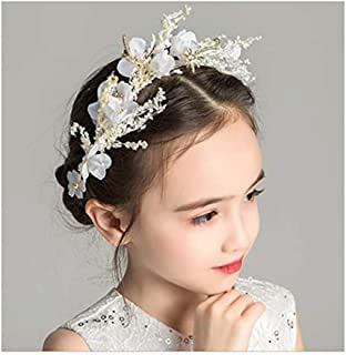 Campsis Floral Princess Wedding Headpiece Dried Flower Headband Dragonfly Tiara Cute Bride Hair Accessories for Women and Girls and Bridal Wedding Tiaras for Flower Girls and Bridesmaid