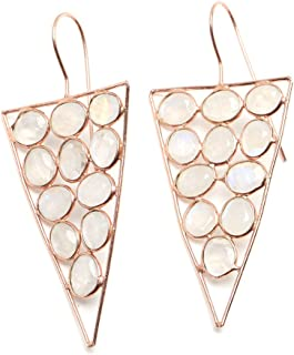 925 Sterling Silver Gemstone Hoop Earring Moonstone Rose Gold Tone & Labradorite Yellow Gold Tone.