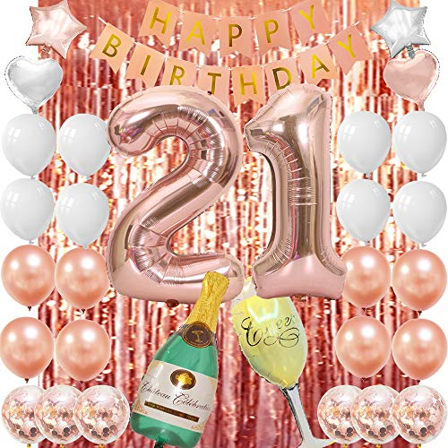 21st Birthday Decorations For Women 21 Birthday Decorations For Her Rose Gold