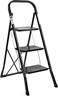 ACTEP Folding Step Ladder Lightweight Step Stool ladders with Anti-Slip Sturdy and Wide Pedal Steel Ladder Black (3 Step Ladder)