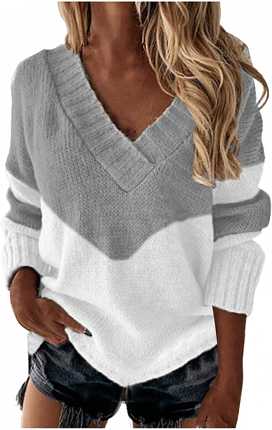 Pullover Women's V Neck Striped Sweaters Long Sleeve Casual Loose Top Color Block Striped Knit Jumper Tops