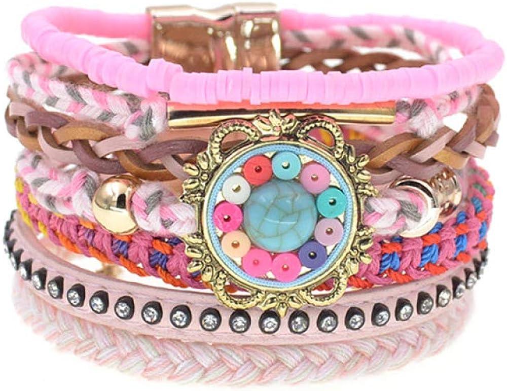Women Popular brand in the world Bracelet Handmade Cotton Leather Bracelets Bohemia Max 43% OFF Colorfu