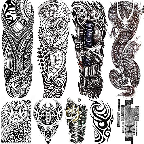 Rejaski 9 Sheets Long Large Black Full Sleeve Temporary Tattoos For Men Women Tribal Maori Dragon Lion Tatoos Realistic Mechanical Machine Robot Arm Body Art Waterproof DIY Fake Armband Tattoo Sticker