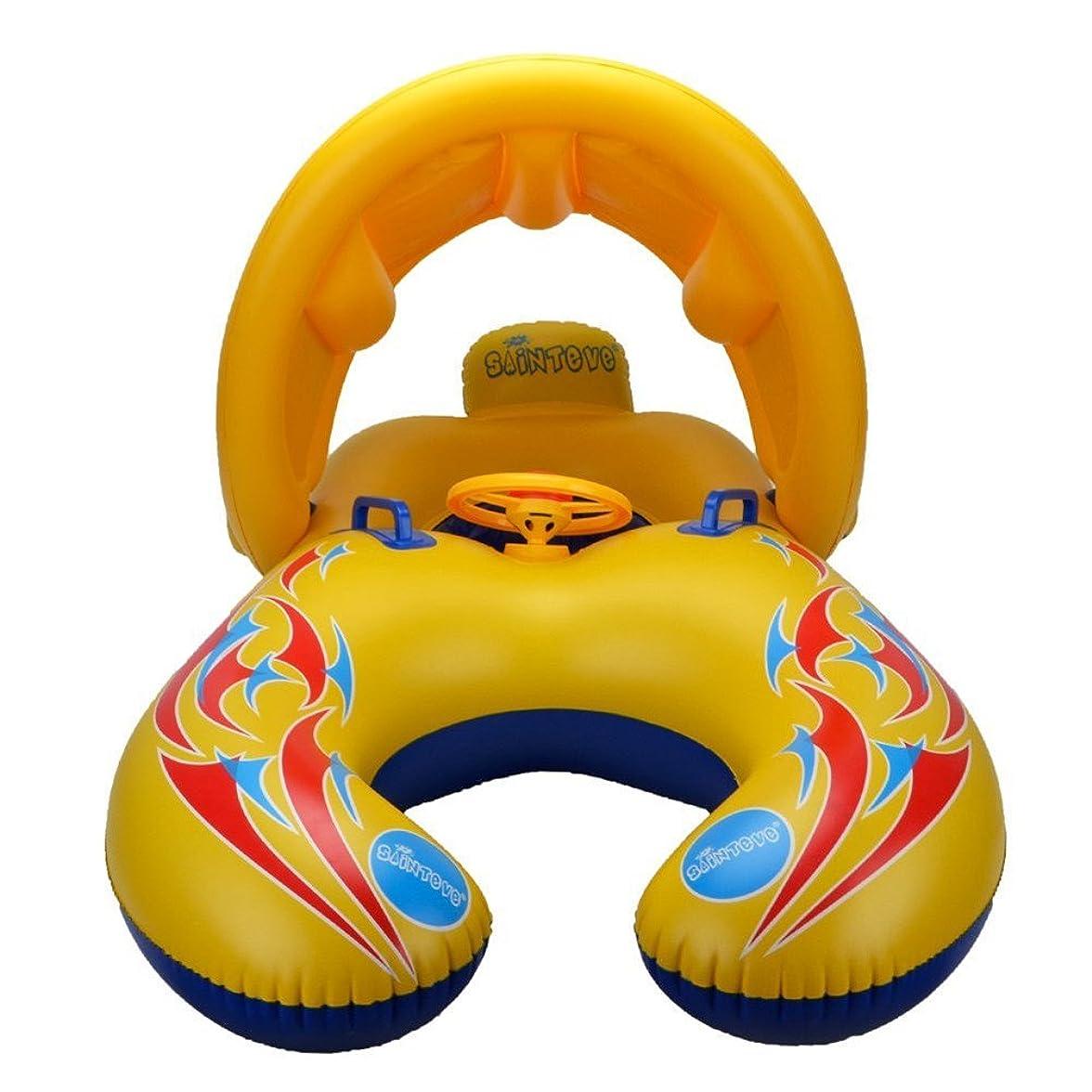 落ち着くトラブル振り子UNOPRO 浮き輪 親子用 うきわ プールボート 足入れ プール?海?川 泳ぎトレーナー タンデムリング 屋根付き ハンドル付き おもちゃ