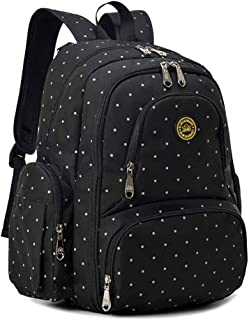 Qimiaobaby Multi-Function Baby Diaper Bag Backpack with Changing Pad and Portable Insulated Pocket (Black dots)