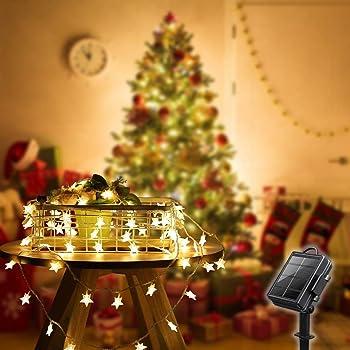 E-POWIND 39ft 100 LED Solar Star String Lights, Waterproof Starry Christmas Light - Solar/Battery Powered, Warm White, 8 Lighting Modes