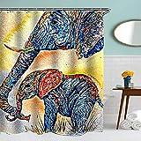 Lustig Tier Schatten Duschvorhang 180x180CM Wasserdicht Anti-Schimmel Polyester Textil Stoff Badewannevorhang Shower Curtain Elefant
