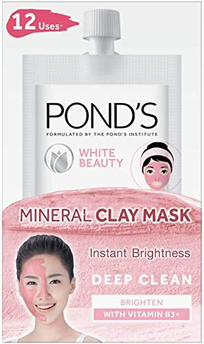 POND'S White Beauty Instant Brightness Vitamin B3+ Mineral Clay Mask 8g*6- Pack of 6