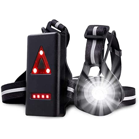 USB Rechargeable LED Body Torch Bright Waterproof Comfortable High Visibility Flashlight with Taillight for Night Runners Jogging Dog Walking Camping Reading DIY Kids Running Light Lamp