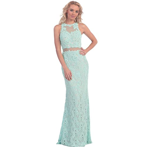 3349f310f2a Meier Women's Lace Illusion Embroidery Two Piece Evening Prom Dress