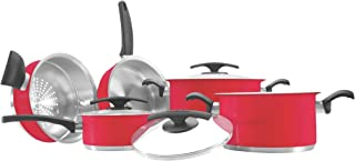 Tramontina Duo Color Red 8 pieces Stainless steel cookware set with TRI-PLY base Silicone coated poliester decoration for ...