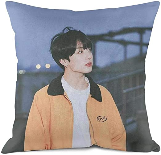Amazon Com About Sth Bts Jungkook Kpop Throw Pillow Covers 18 X18 Both Sides Suit For Living Room Sleep Decorative Pillowcase Cover Home Kitchen