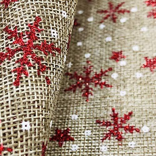 LAS TELAS ... Tejido de Arpillera Estampada Navidad Copos de Nieve Rojos por Metros, Ancho 1,50 Mtrs. 1 Mtr.