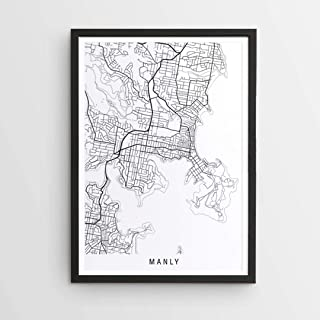 Manly Minimalist map Print Women's by The Design Atelier - Size: A1