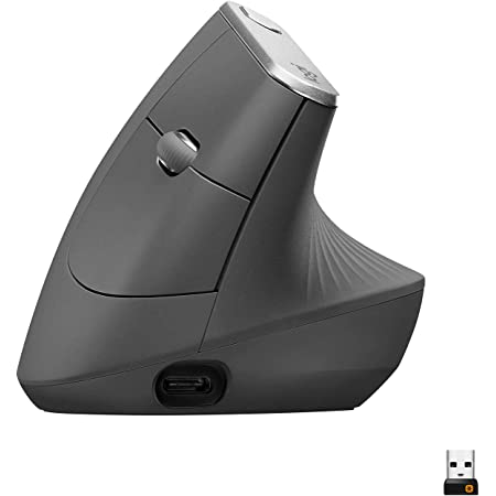 Logitech MX Vertical Wireless Mouse – Advanced Ergonomic Design Reduces Muscle Strain, Control and Move Content Between 3 Windows and Apple Computers (Bluetooth or USB), Rechargeable, Graphite