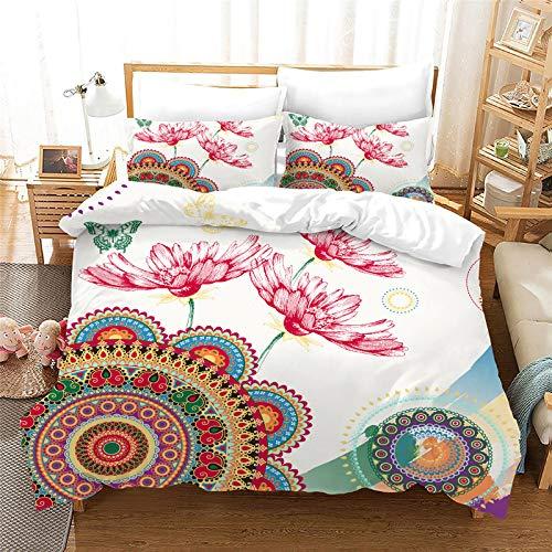 DWSM - Funda de edredón con diseño de elefante indio étnico exótico, juego de cama con funda de almohada, para cama individual, doble, king y super king (15,135 x 200 cm)