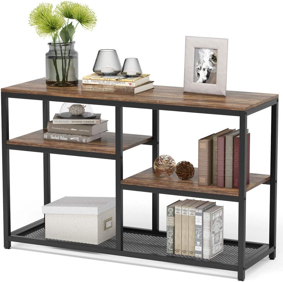 Tribesigns Daily bargain sale 47 gift Inch Rustic Console Ent 4-Tier Sofa Table Vintage