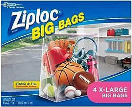 Ziploc Storage Bags, Double Zipper Seal & Expandable Bottom, XL, 4 Count, Big Bag