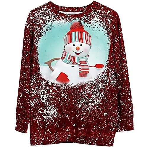 Ropa de Navidad retro para mujer impresión de Navidad suelta casual cuello redondo suéter sudadera, #5 Rojo, L