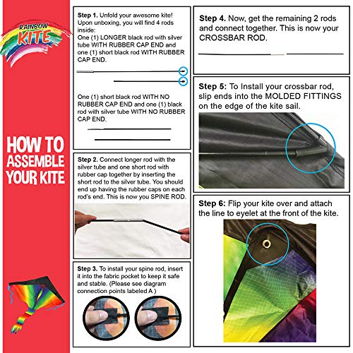 aGreatLife Huge Rainbow Kite for Kids - One of The Toys for Outdoor Games and Activities - Good Plan for Memorable Summer Fun - This Magic Kit Comes w