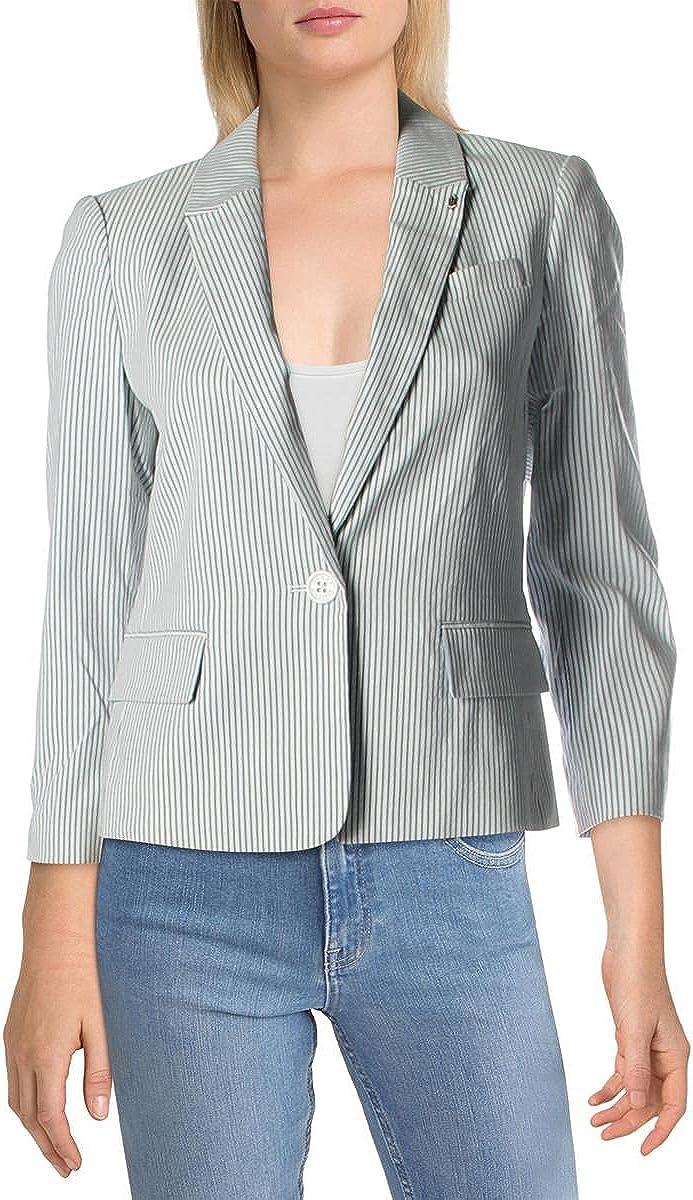 Tommy Hilfiger Womens Pinstripe Suit Separate Blazer White 16